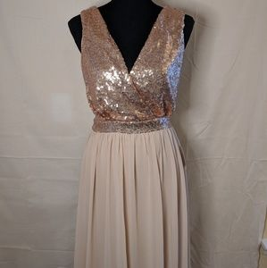 Lulu's Pink Sequin Maxi Formal Dress New